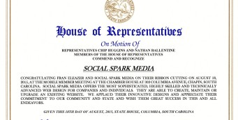 Social Spark Media receives SC House of Representatives Commendation