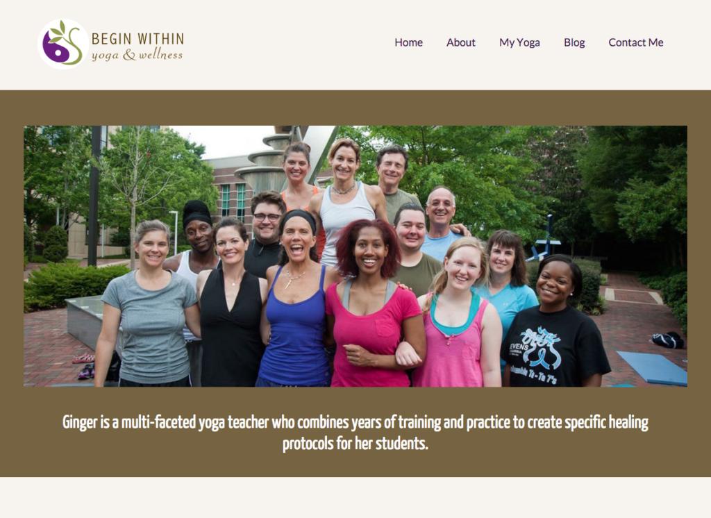 Begin Within Yoga - Social Spark Media Website