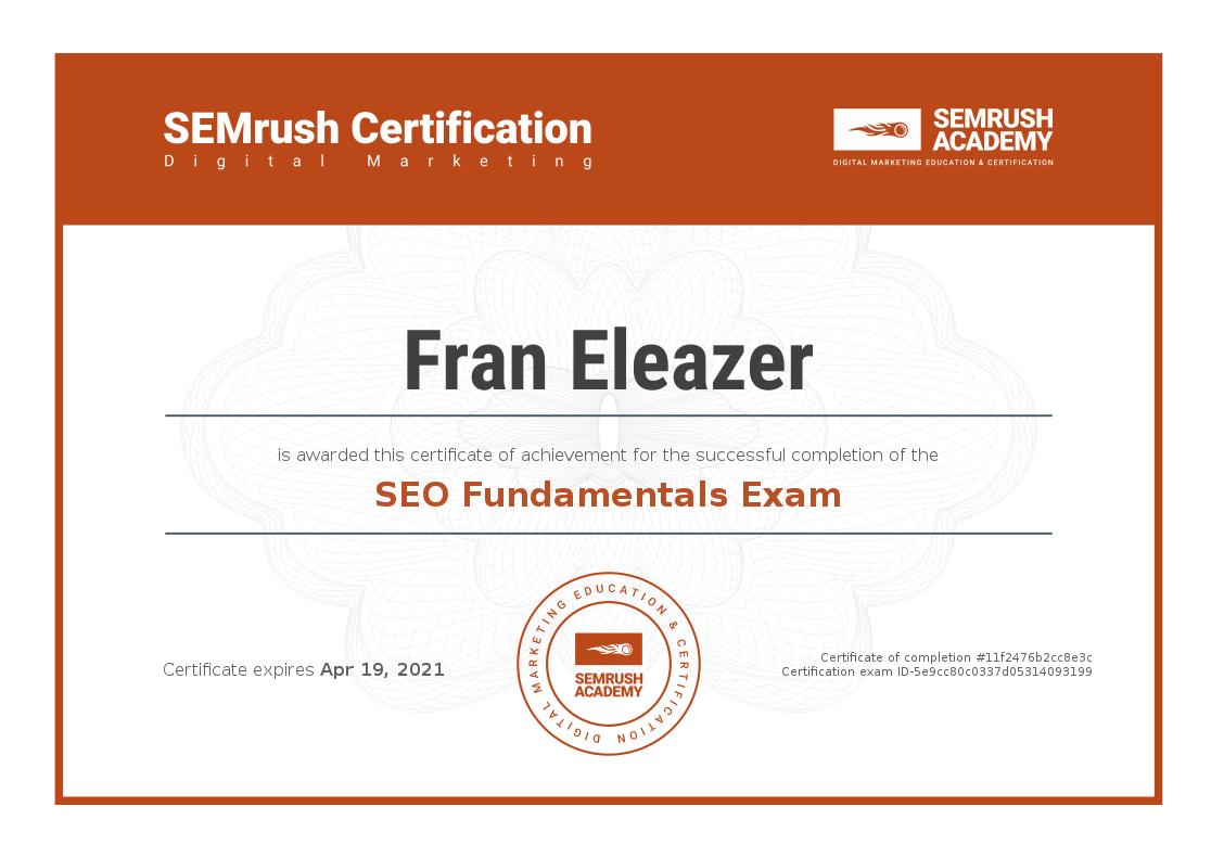 SEO Fundamentals Certificate